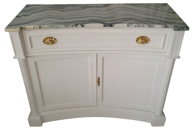 Marble Bow-Front Cabinet