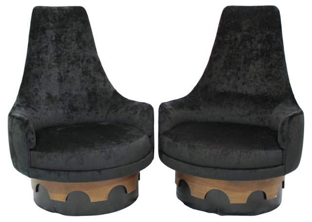 Adrian Pearsall King Swivel Chairs, Pair
