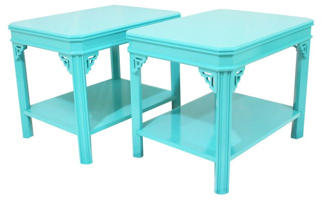 Chinoiserie End  Tables, Pair