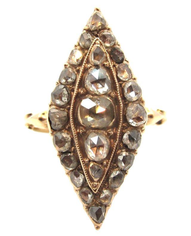 Georgian Navette Diamond Cluster Ring
