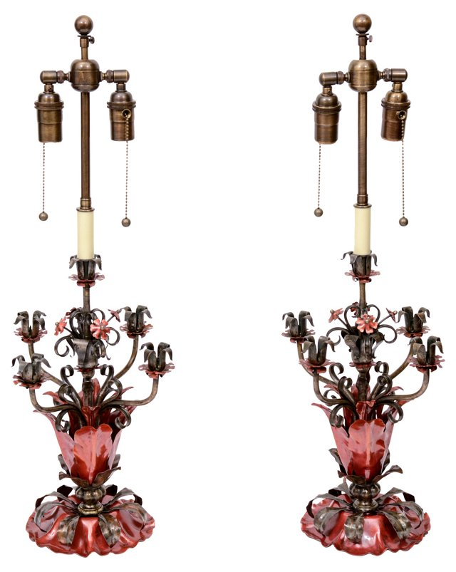 Metal Flower Lamps, Pair