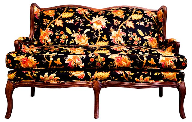 Louis XV-Style  Upholstered  Loveseat