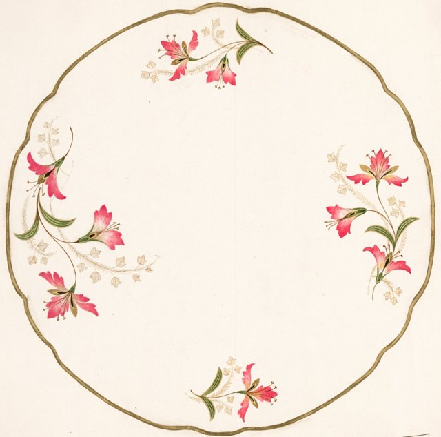 Watercolor Porcelain  Design, C. 1935