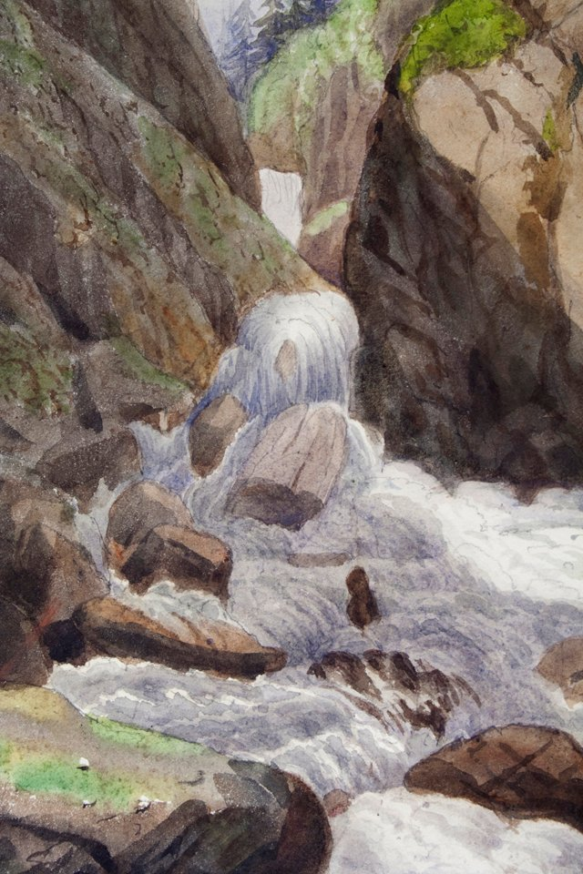 Alpine Waterfall Watercolor, HOLD