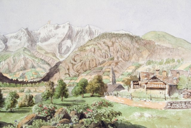Valley of Courmayeur Watercolor, HOLD