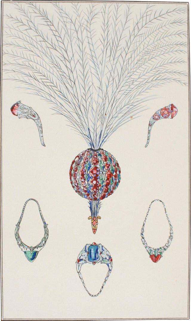 French Art Deco Jewelry Pochoir, 1913