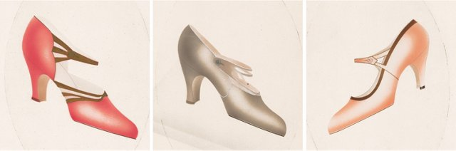 French Shoe Watercolors, C. 1935, S/3