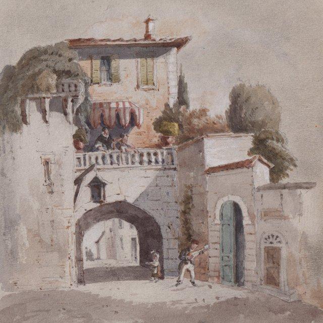 19th-C. Italian Watercolor