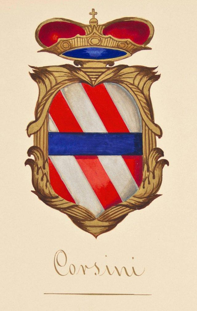 Corsini Coat of Arms Gouache, C. 1870