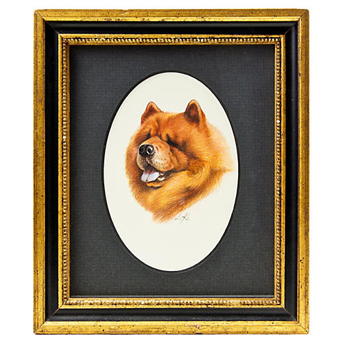 Hand-Drawn Portrait of a Chow Chow
