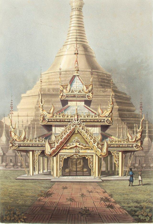The Gold Temple, Rangoon, Burma, 1826