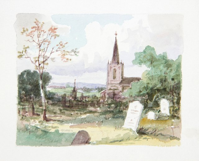 19th-C. Watercolor of English Churchyard