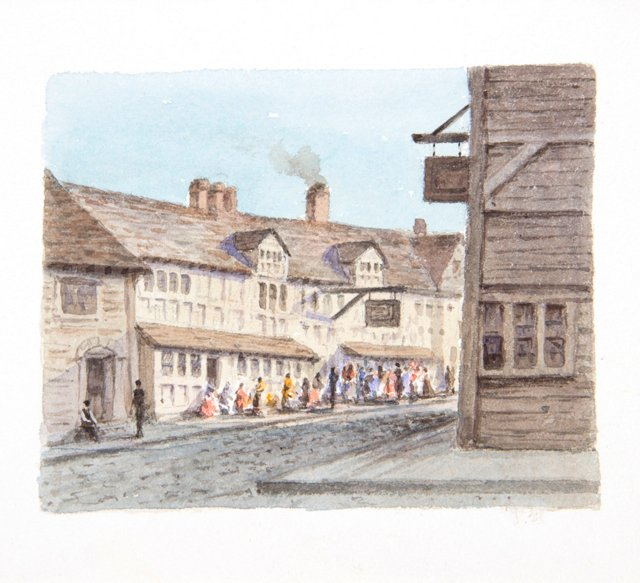 19th-C. Watercolor of an English Village