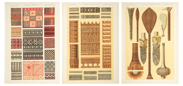 Tribal Ornament Lithographs, 1868, S/3