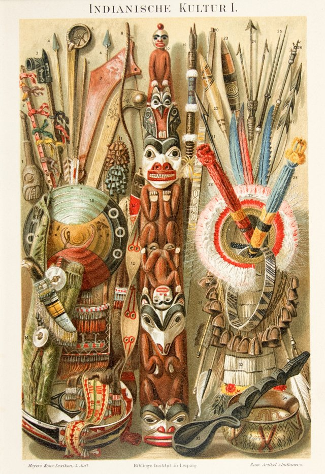 Totem Pole and Pow Wow Objects, 1896