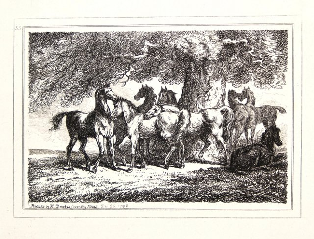 Engraving of Eight Horses, C. 1792
