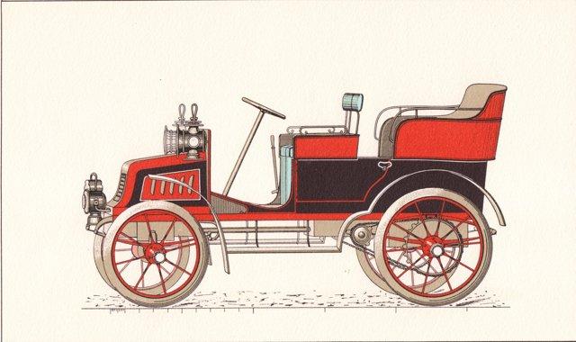 Double Phaeton Car Lithograph, C. 1920