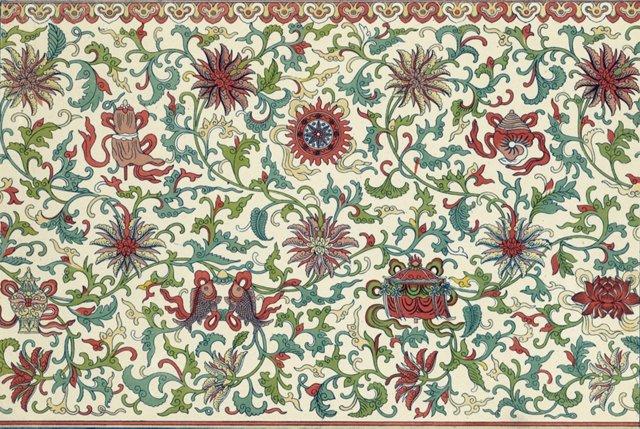 Red & Green Floral Design, 1867