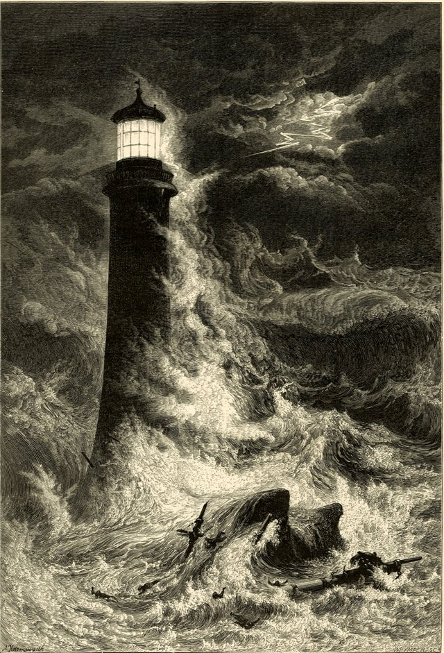 Eddystone Lighthouse Engraving, C. 1870