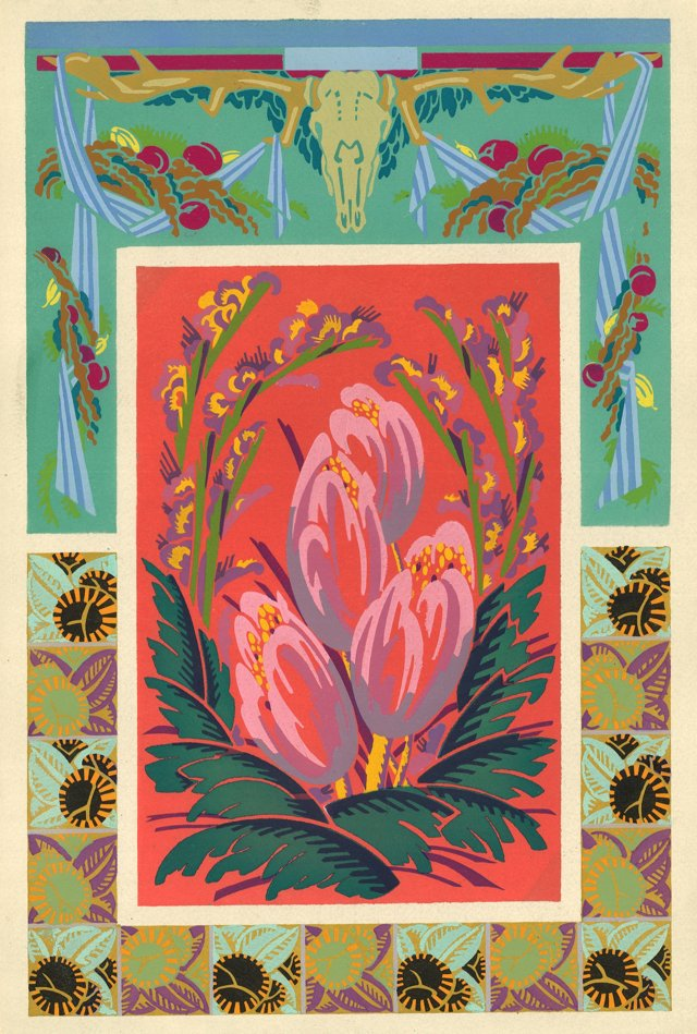 Art Deco Skull & Flowers Motif, C. 1920