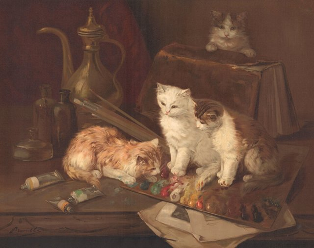 Kittens Playing w/ Paint, 1896