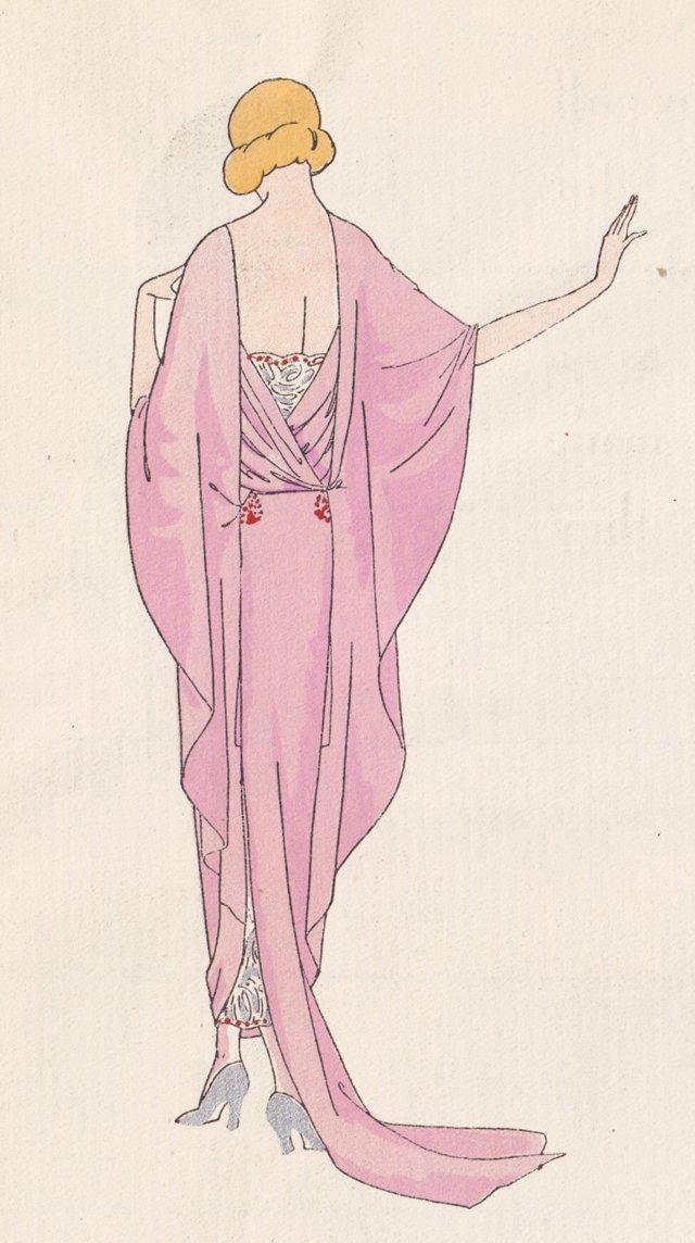 Art Deco Tea Gown Pochoir, 1922