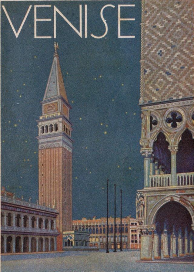 Art Deco  Venice Lithograph, 1933