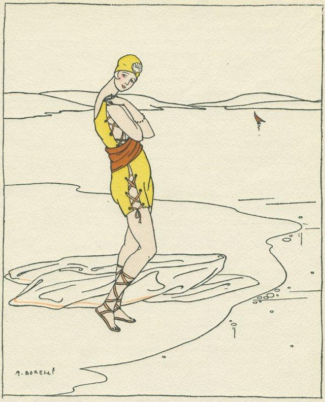 Art Deco Seaside Fashion Pochoir, 1914