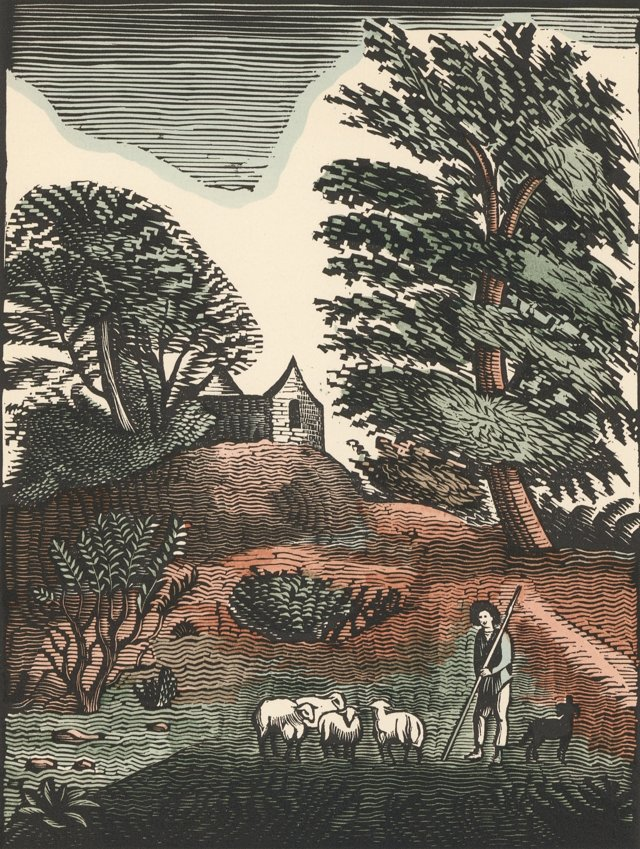 French Countryside with Sheep, C. 1920