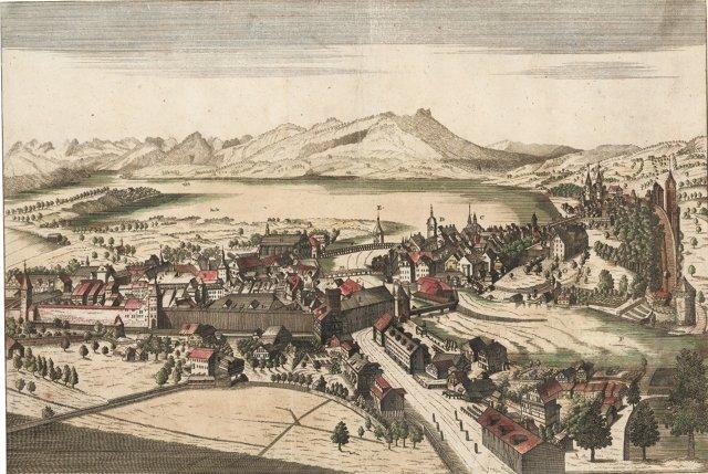Engraving of Lucerne, Switzerland C.1800