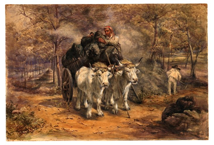 Peasants & Oxen Watercolor, C. 1850