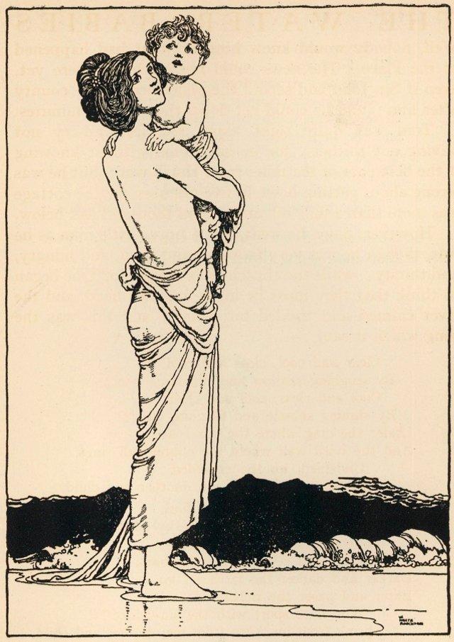 Art Nouveau Portrait of Mother & Child