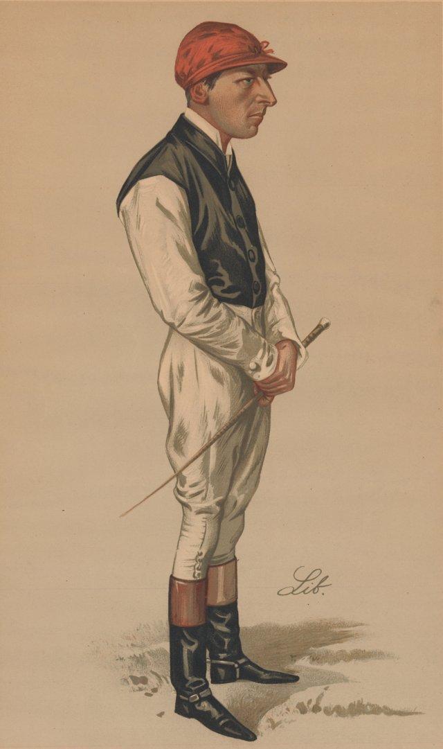 English Jockey Lithograph, 1889