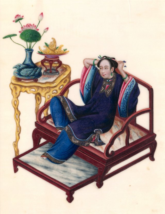 Reclining Lady Chinese Gouache C. 1830