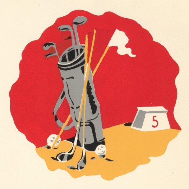 French Golf Clubs Pochoir