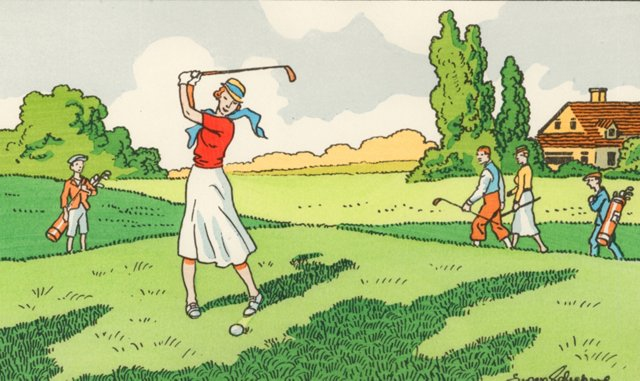 French Lady on the Green, 1940s