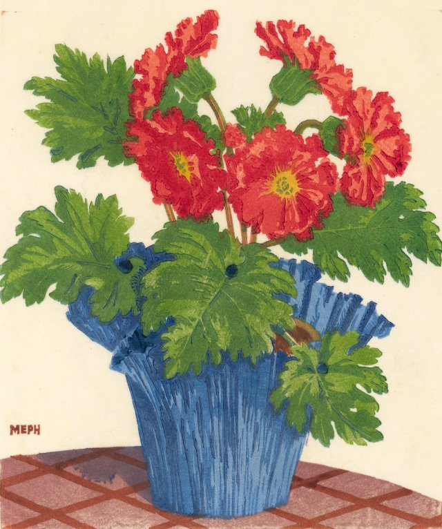 Midcentury Woodcut of Red Asters