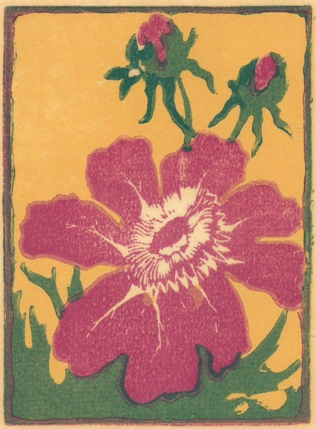 Midcentury Woodcut of Flower w/ Buds
