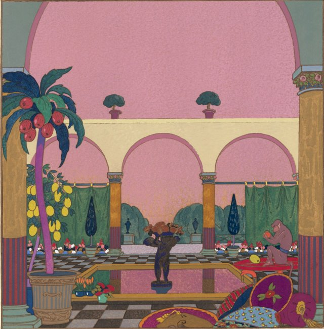 Deco Exotic Garden with a Monkey, 1919