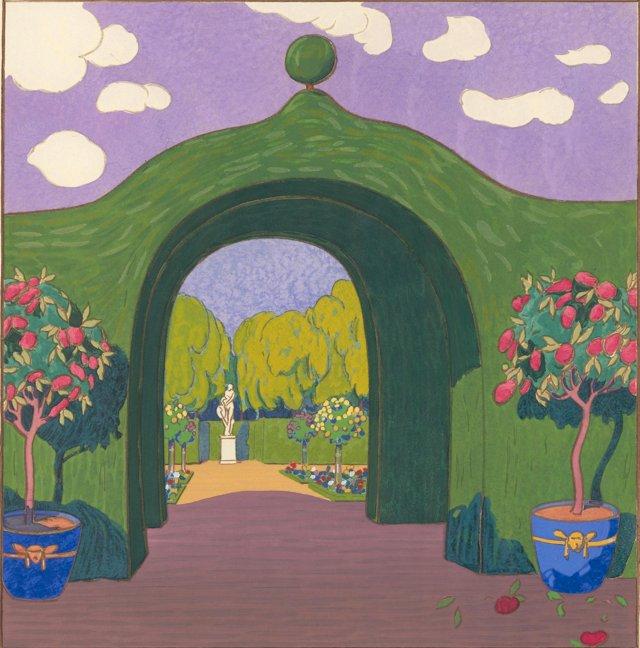 Art Deco Garden w/ Arch & Statue, 1919