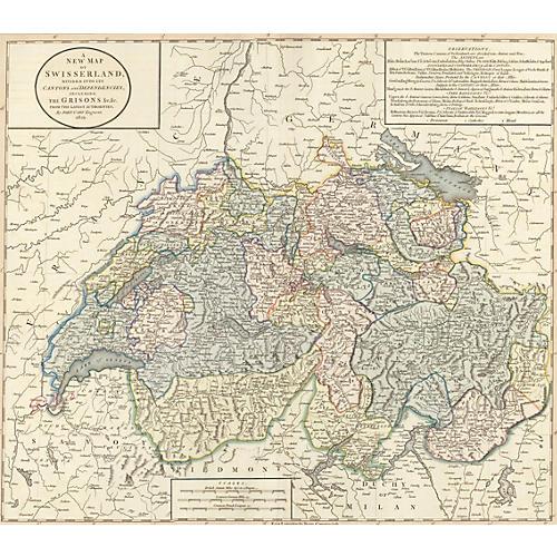 Hand-Colored Map of Switzerland, 1821