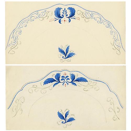 Viennese Plate Design Gouaches, Pair