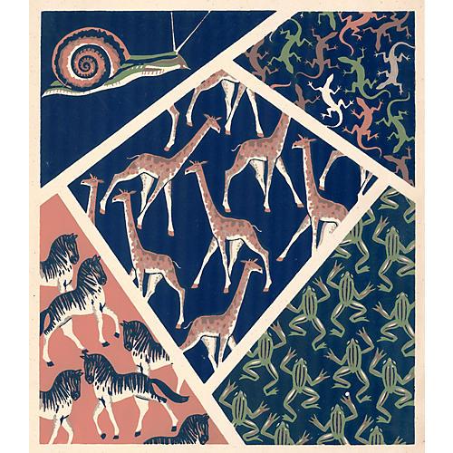 Giraffe, Zebra Design Pochoir, 1928