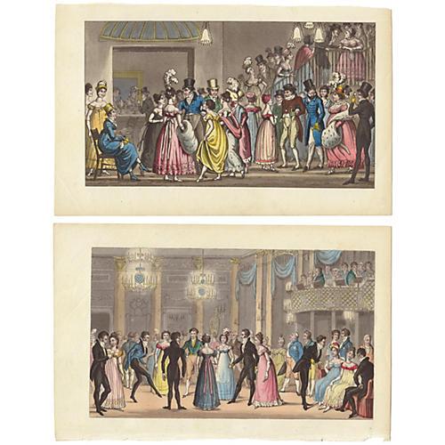 English Ballroom Dancing, C. 1830, Pair