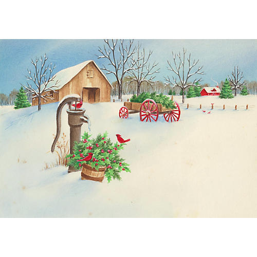 Farm in Snow & Cardinals Watercolor