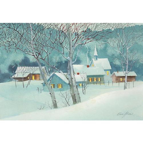 Watercolor of a Snowy Village