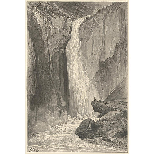 Norwegian Waterfall by Gustave Doré