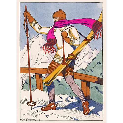 Hand-Colored French Ski Fashion, 1921