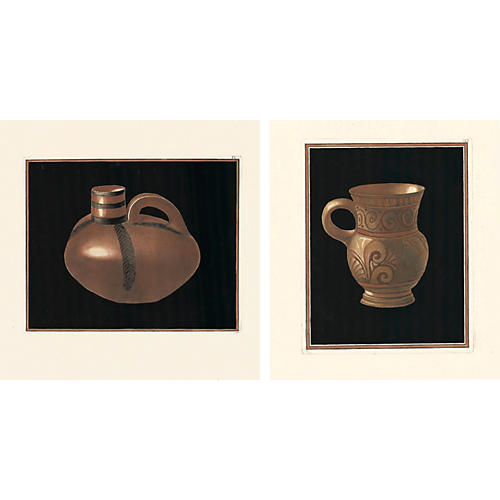 Ancient Pottery Engravings, 1766, Pair