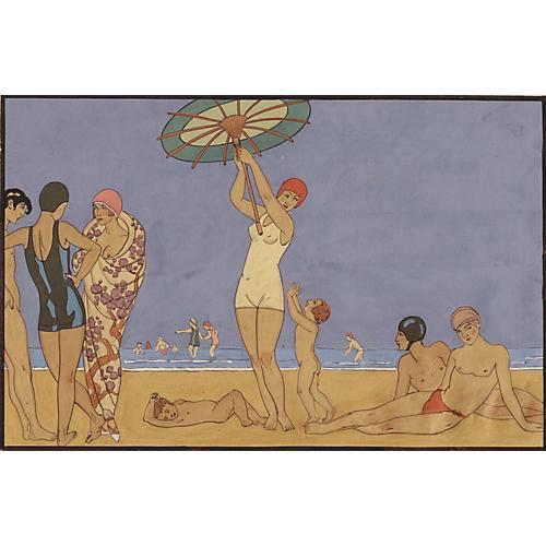 Art Deco Beach Scene Painting, C. 1920